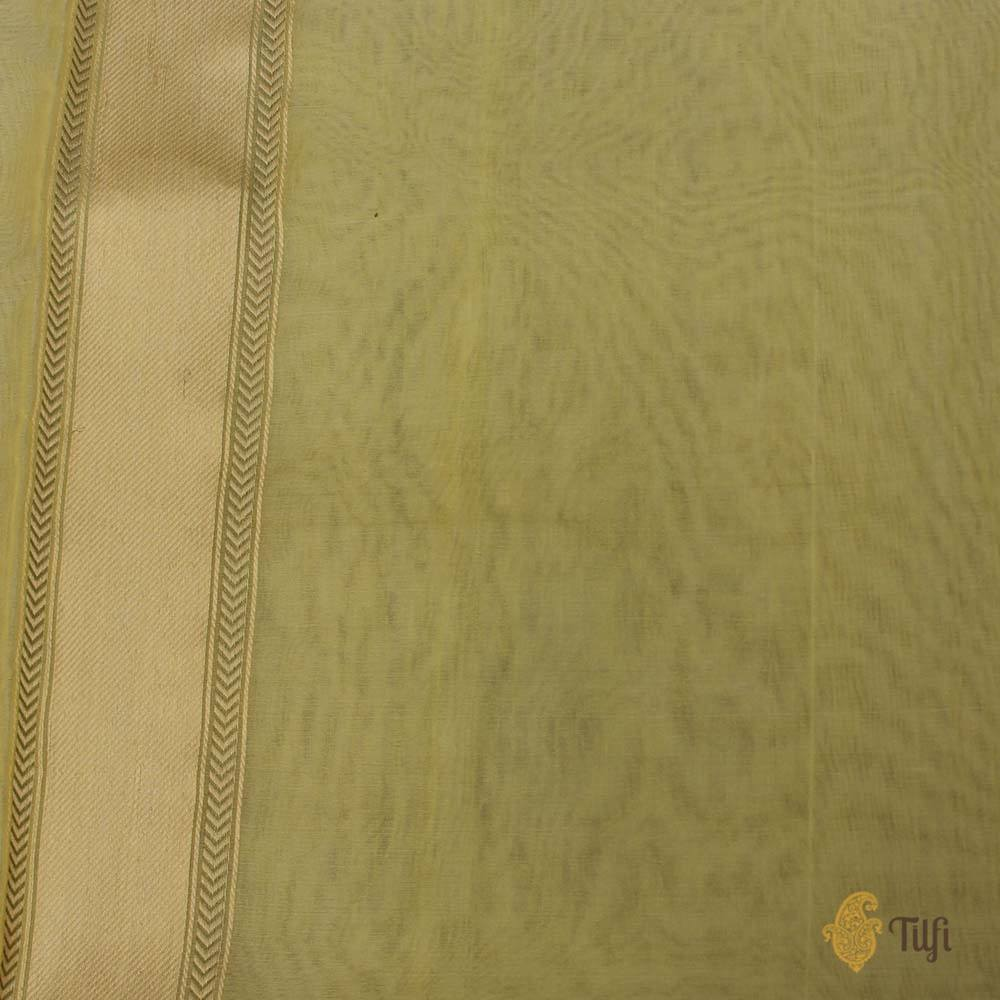 Mint Yellow Pure Kora Silk Banarasi Handloom Saree