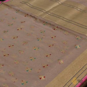 Dusty Pink Pure Kora Silk Banarasi Handloom Saree