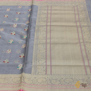 Grey Pure Kora Silk Banarasi Handloom Saree