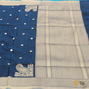Peacock Blue-Black Pure Katan Silk Banarasi Handloom Saree