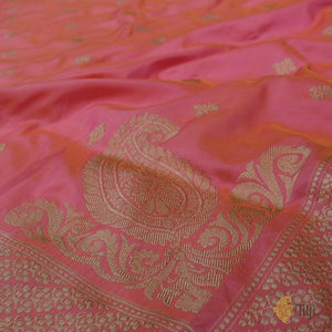 Yellow-Gulabi Pink Pure Katan Silk Banarasi Handloom Saree