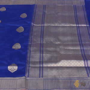 Royal Blue Pure Katan Silk Handloom Banarasi Saree