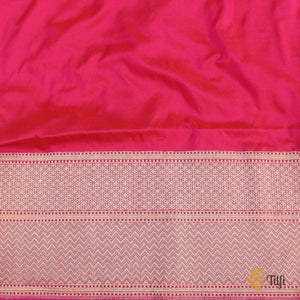 Dark Orange-Pink Pure Katan Silk Banarasi Handloom Saree