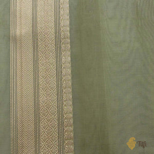 Light Sage Green Pure Kora Silk Handwoven Banarasi Saree