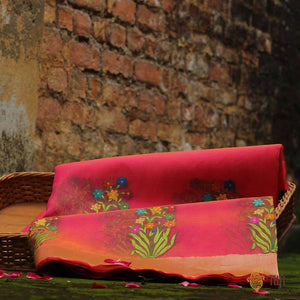 Orange-Rani Pink Pure Kora Silk Handwoven Banarasi Saree