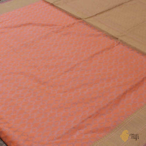 Peach Pure Kora Silk by Cotton Handwoven Banarasi Saree