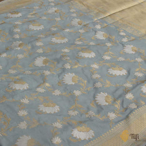Grey Pure Katan Silk Banarasi Handloom Kadwa Saree