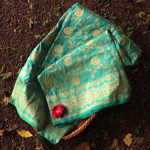 Light Green-Ferozi Blue Pure Katan Silk Banarasi Handloom Saree
