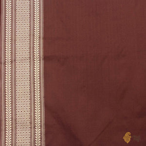 Brown Pure Katan Silk Banarasi Handloom Saree