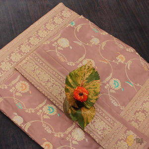 Old Rose Pink Pure Katan Silk Banarasi Handloom Saree