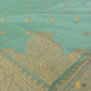 Light Aqua Blue Pure Kora Silk by Cotton Banarasi Handloom Saree