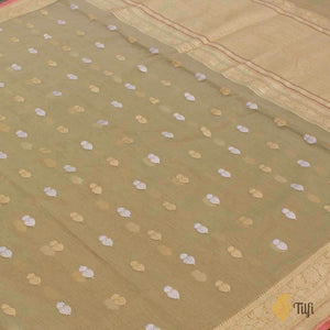 Beige Pure Cotton Banarasi Handloom Saree