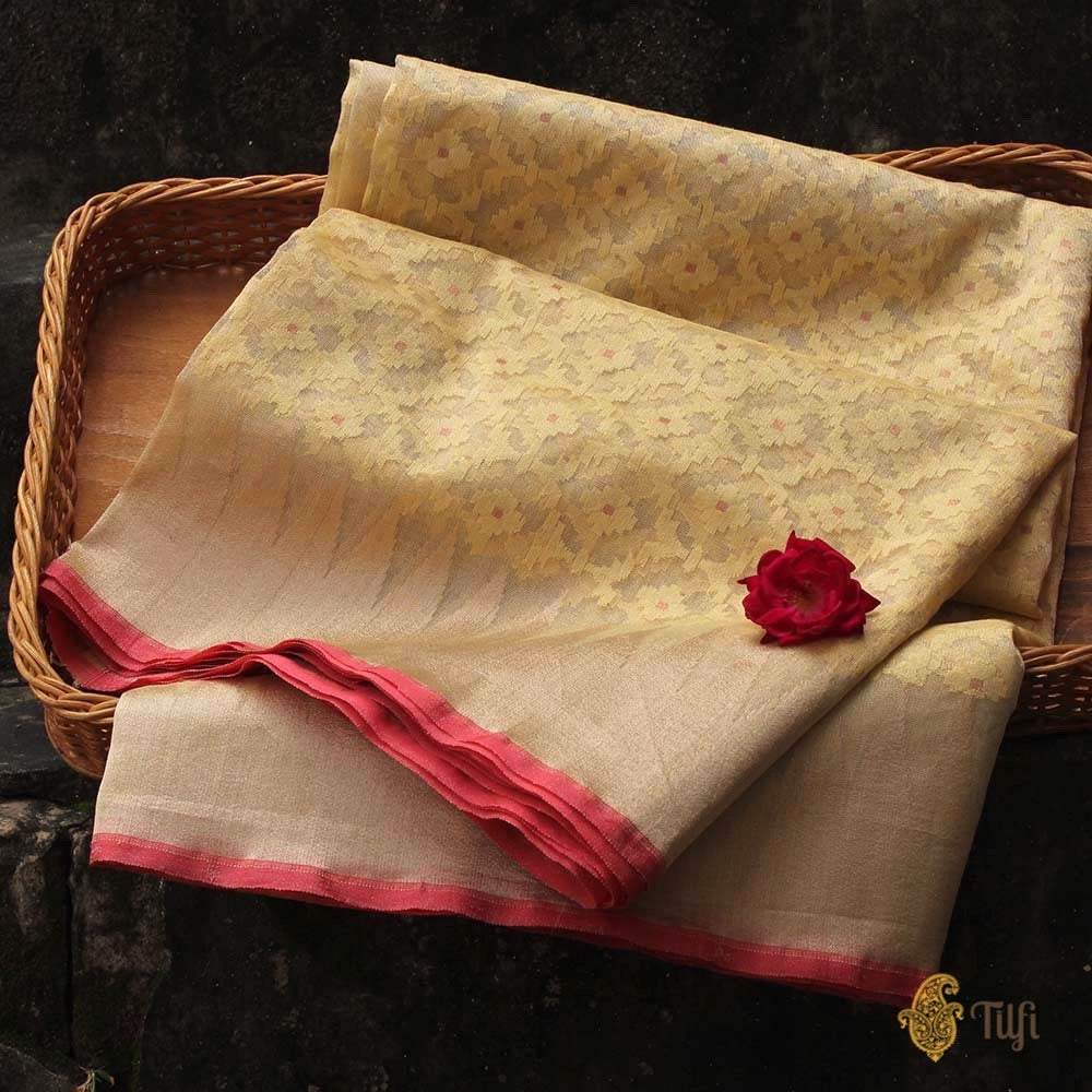 Mint Yellow Pure Kora Silk Tissue Net Banarasi Handloom Saree