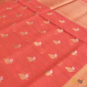 Coral Peach Pure Cotton Banarasi Handloom Saree