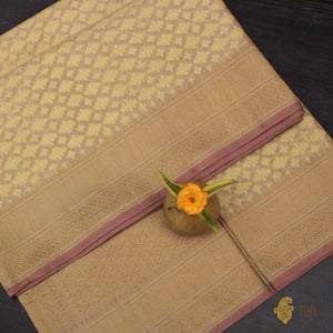 Mint Yellow Pure Cotton Handwoven Banarasi Saree
