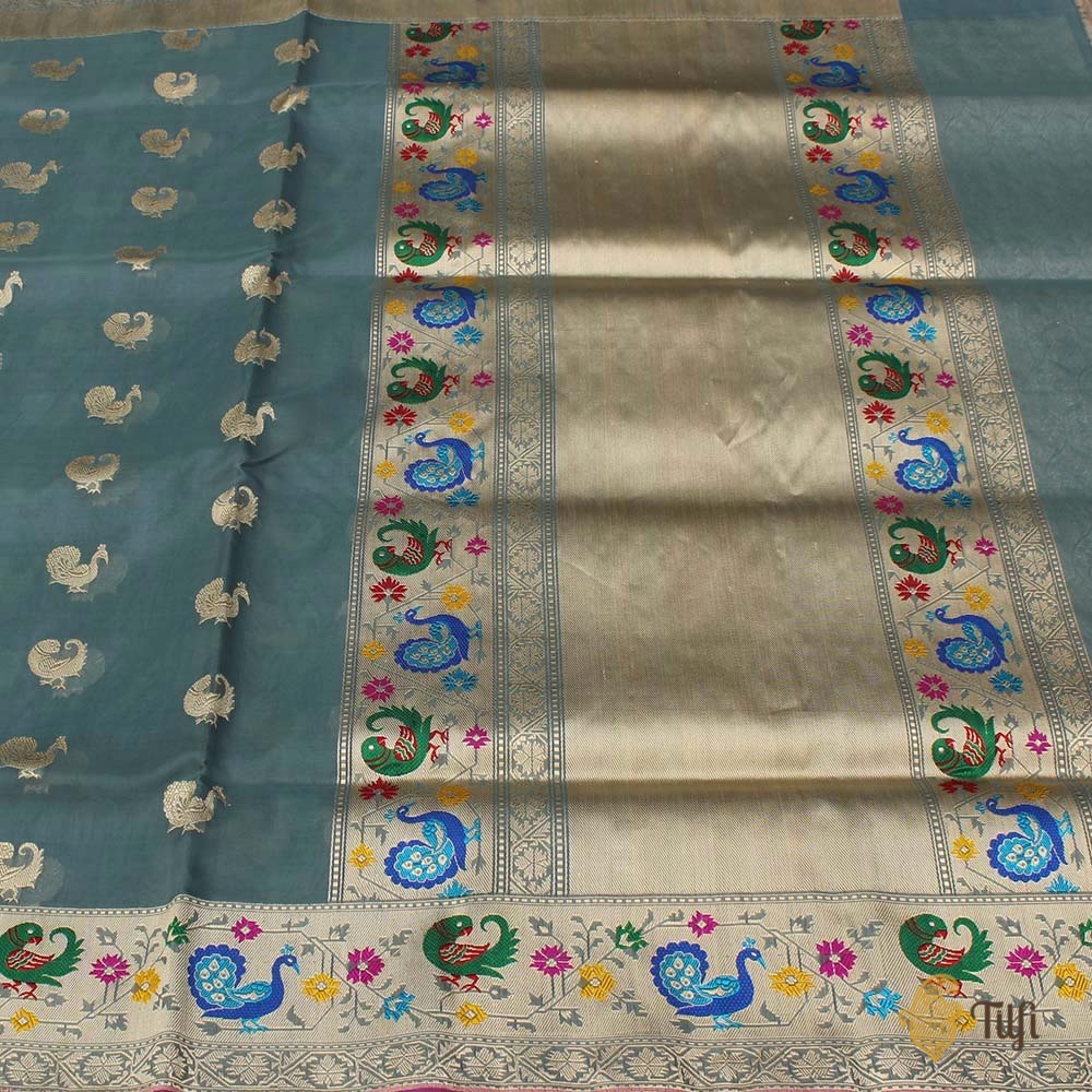 Blueish-Grey Pure Kora Silk Banarasi Paithani Handloom Saree
