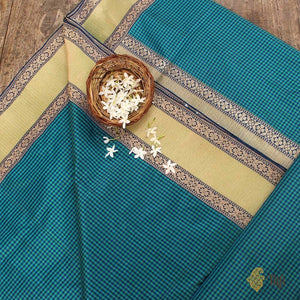 Teal Green-Rama Blue Pure Katan Silk Banarasi Handloom Saree