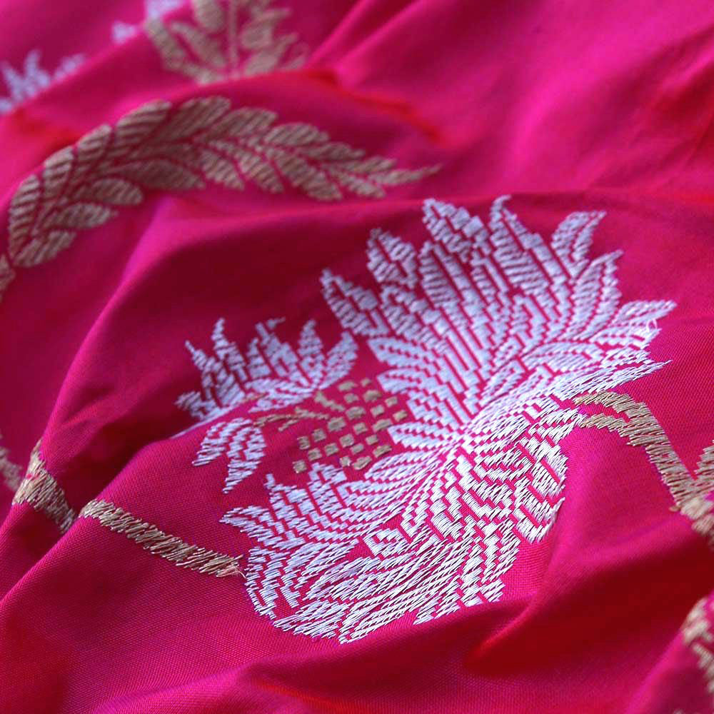 Pre-Order: Orange-Gulabi Pink Pure Katan Silk Banarasi Handloom Saree