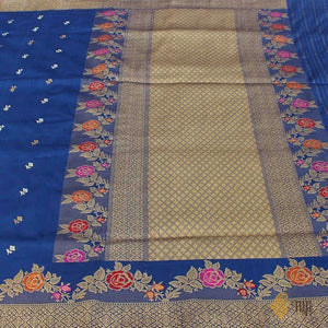 Persian Blue Pure Katan Silk Banarasi Handloom Saree