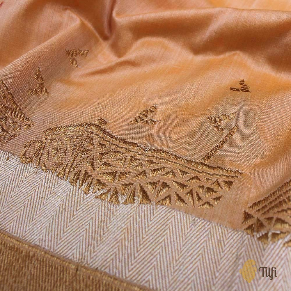 Peach Puff Pure Katan by Chinia Silk Banarasi Handloom Saree