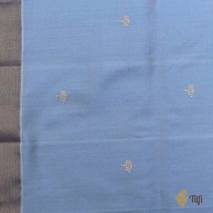 Off-White-Denim Blue Pure Katan Silk & Cotton Banarasi Handloom Saree