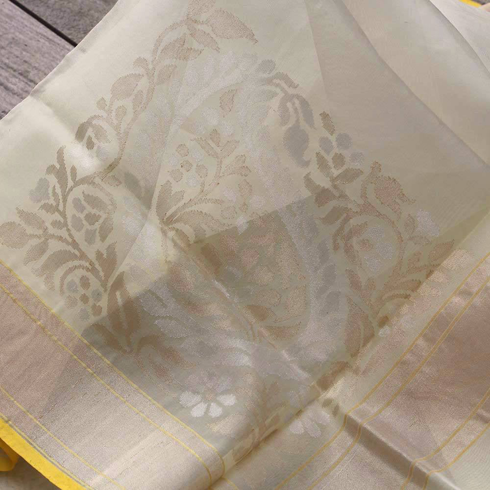 Cream Pure Kora Silk Real Zari Banarasi Handloom Saree