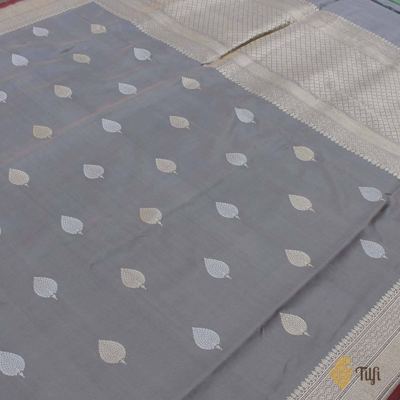 Grey Blue Pure Katan Silk Handloom Banarasi Saree