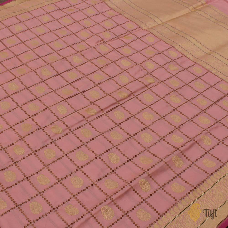 Cream-Light Pink Pure Katan Silk Banarasi Handloom Saree
