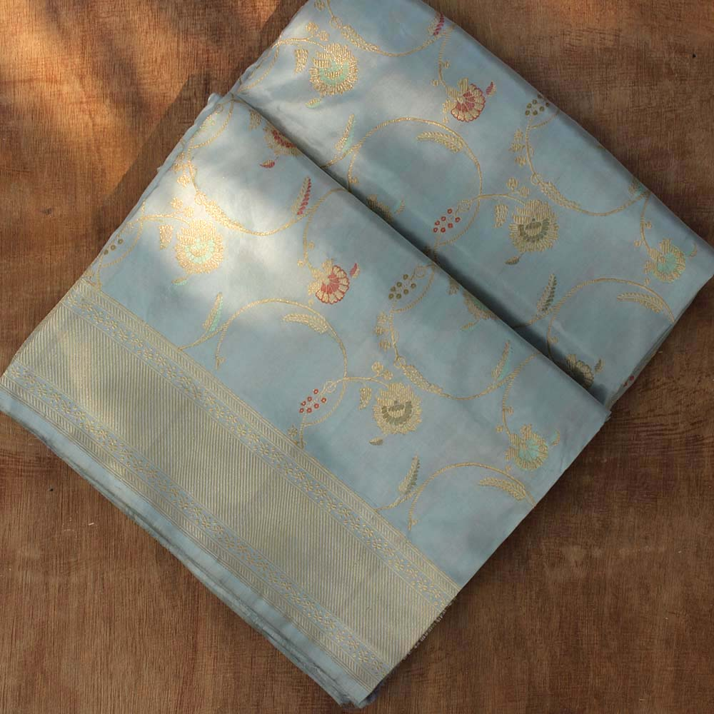 Mint Blue Pure Katan Silk Banarasi Handloom Saree