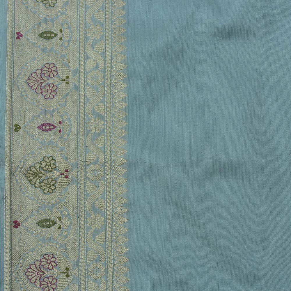 Light Blue Pure Katan Silk Banarasi Handloom Saree