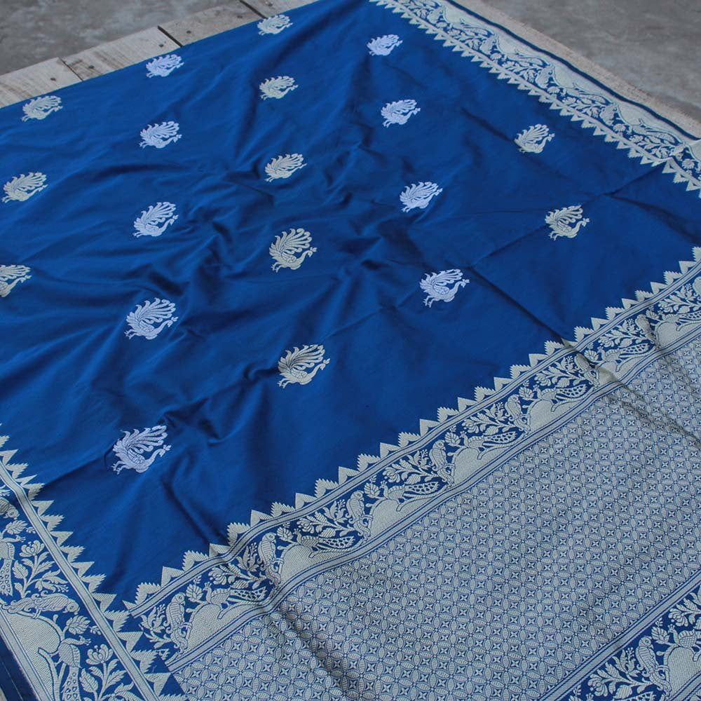 Black-Blue Pure Katan Silk Banarasi Handloom Saree