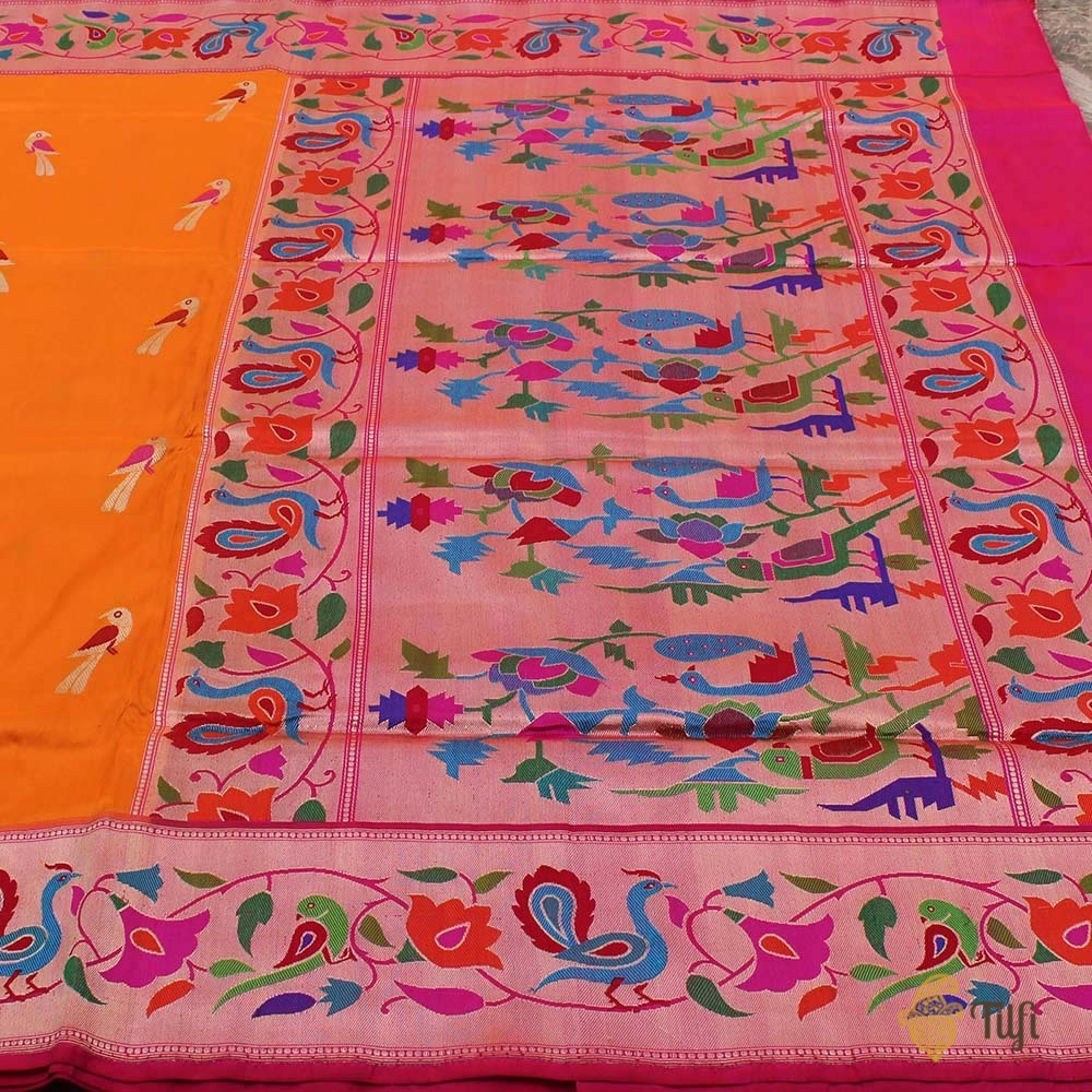 Orange Pure Katan Silk Banarasi Paithani Handloom Saree