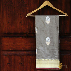 Grey Pure Katan Silk Handloom Banarasi Saree