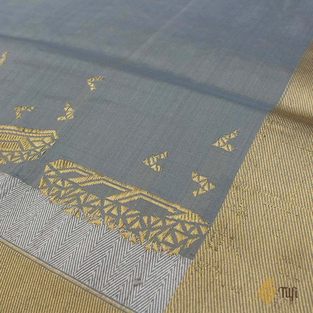 Light Blue Pure Katan by Chinia Silk Banarasi Handloom Saree