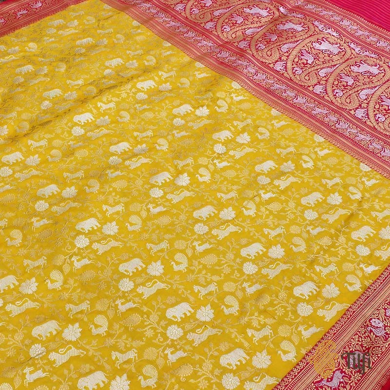 Yellow-Red Pure Katan Silk Banarasi Handloom Shikaargah Saree