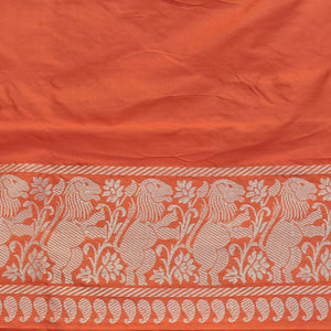Orange Pure Katan Silk Banarasi Handloom Saree