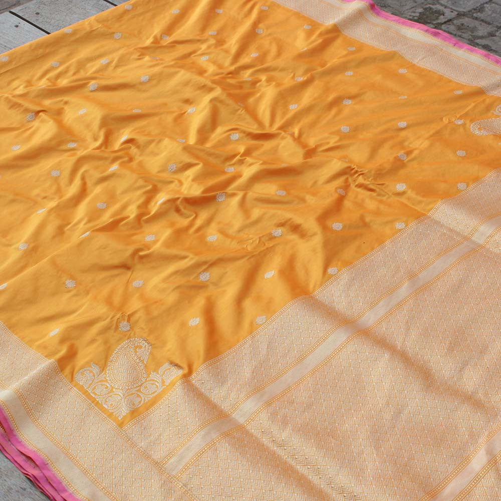 Light Orange-Yellow Pure Katan Silk Banarasi Handloom Saree