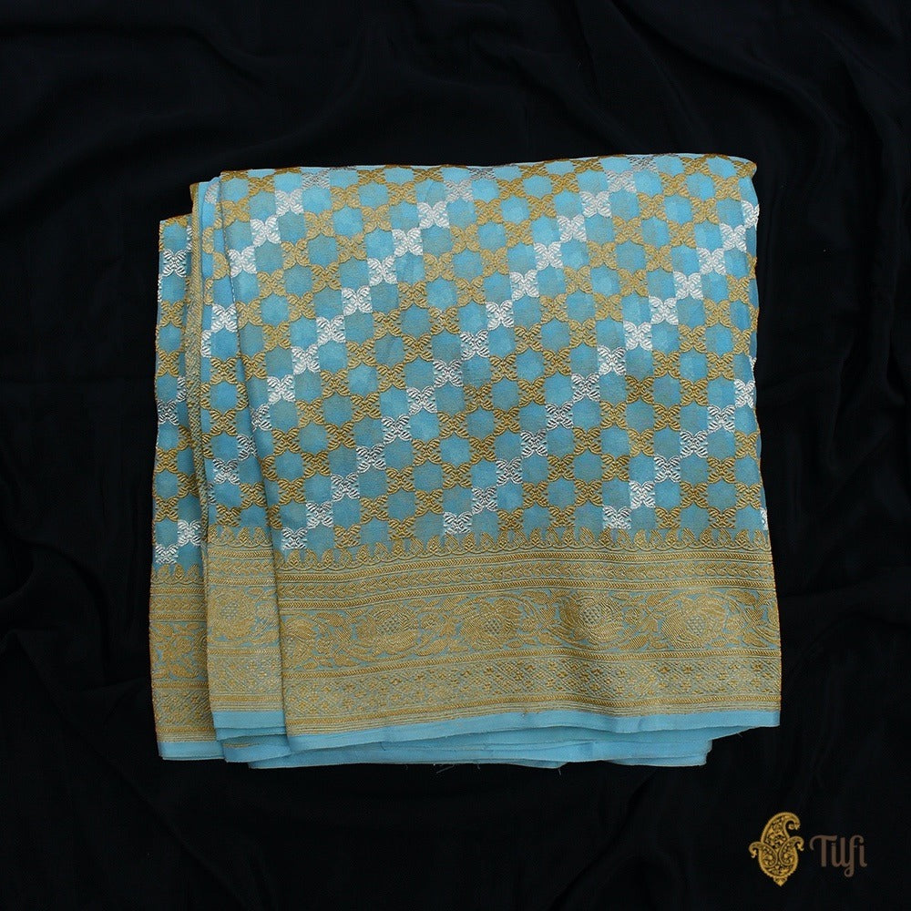 Light Ferozi Blue Pure Georgette Banarasi Handloom Saree