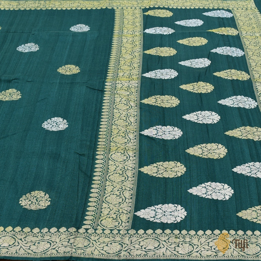 Teal Green Pure Tussar Georgette Silk Banarasi Handloom Saree