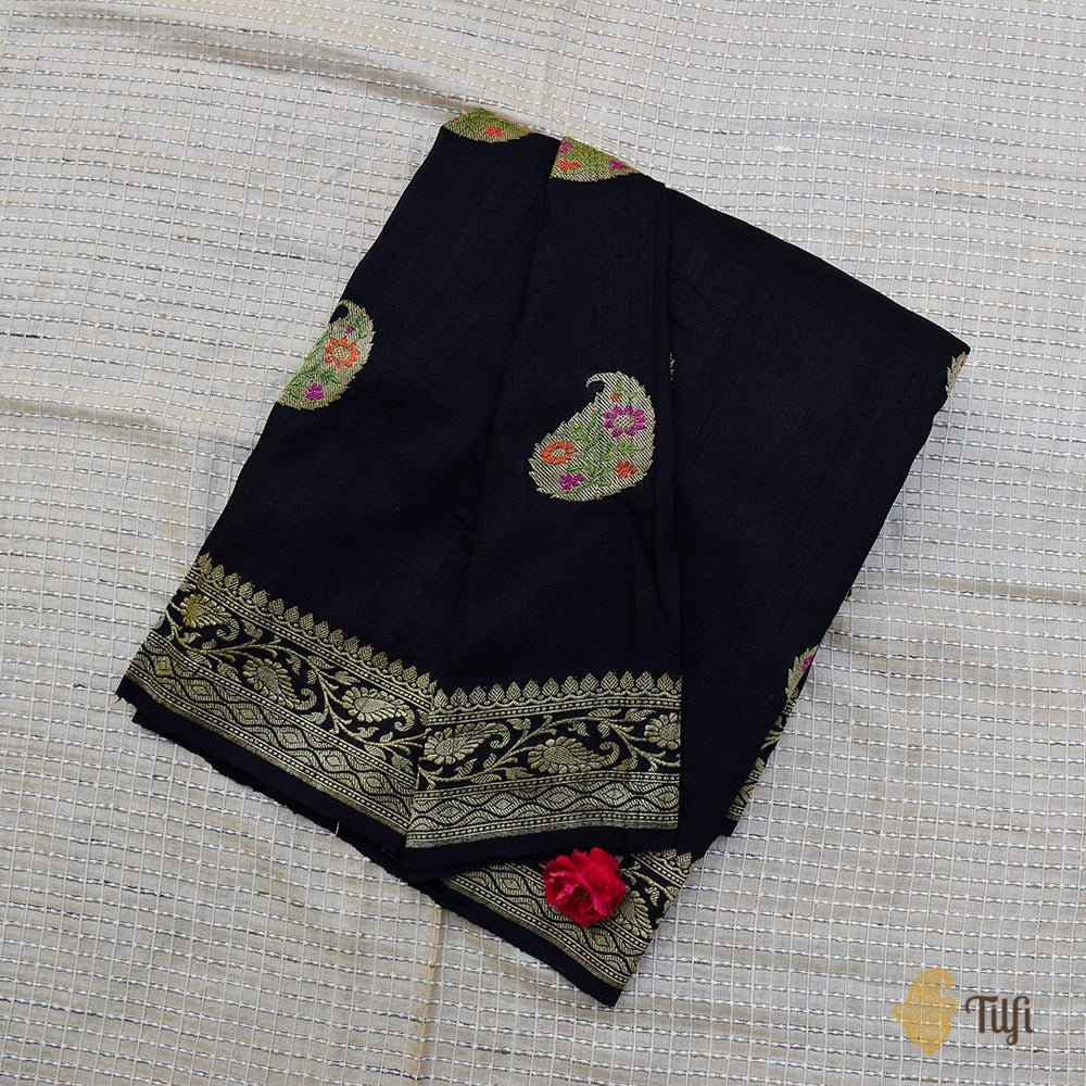 Black Pure Tussar Georgette Silk Banarasi Handloom Saree