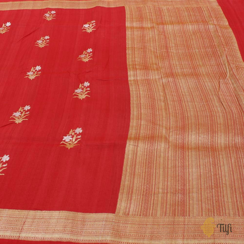 Red Pure Tussar Georgette Silk Banarasi Handloom Saree