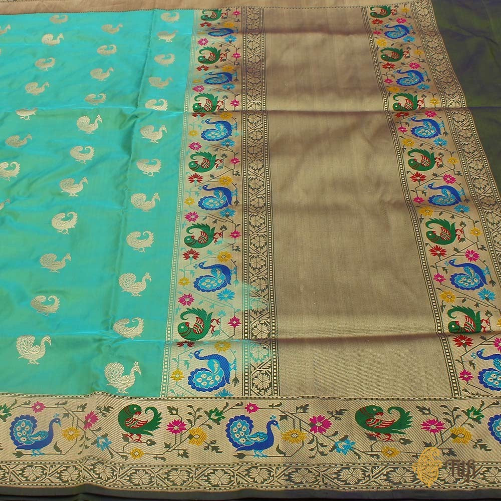 Blue-Green Pure Katan Silk Banarasi Paithani Handloom Saree