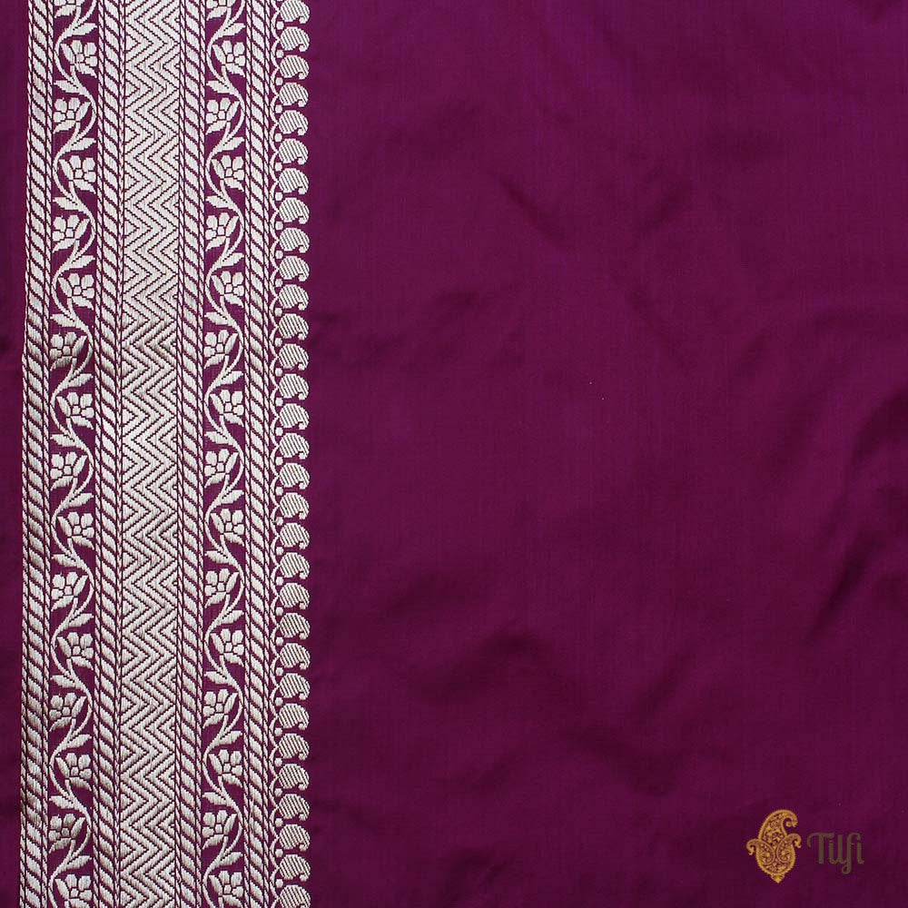 Burgundy Pure Katan Silk Banarasi Handloom Saree