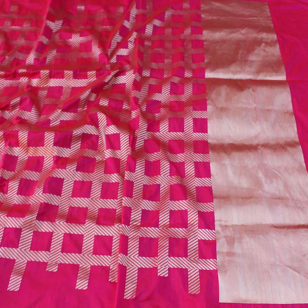 Red-Indian Pink Pure Katan Silk Banarasi Handloom Saree