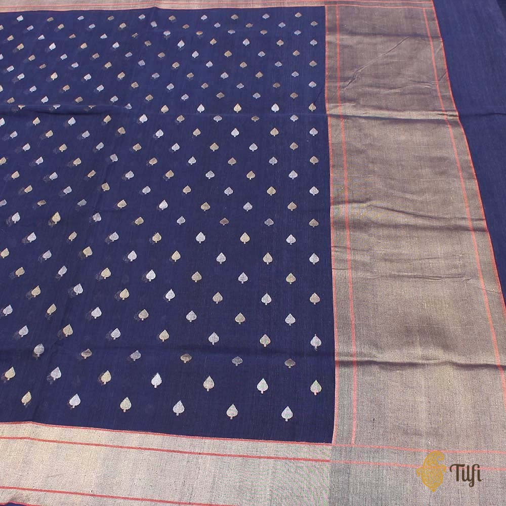 Navy Blue Pure Cotton Real Zari Banarasi Handloom Saree