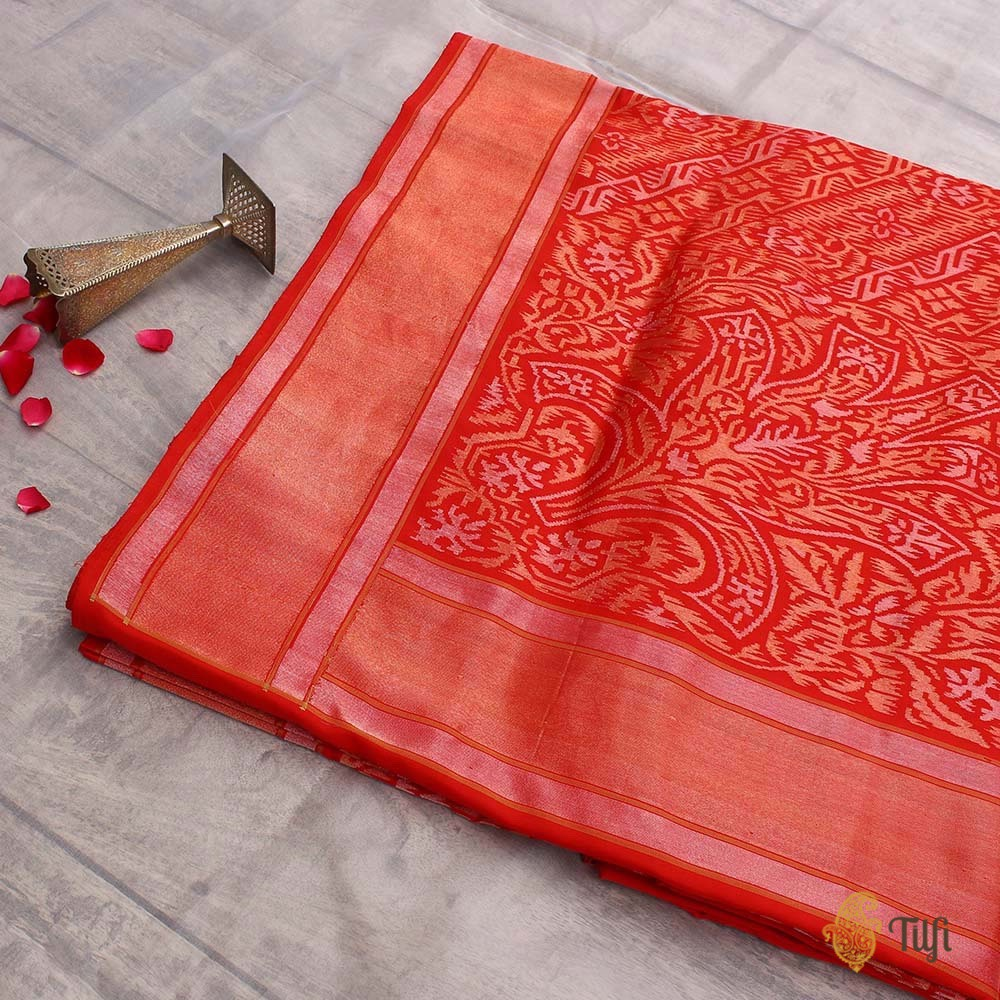 09793b2381 Red Pure Katan Silk Ektara Real Zari Banarasi Handloom Saree - Tilfi