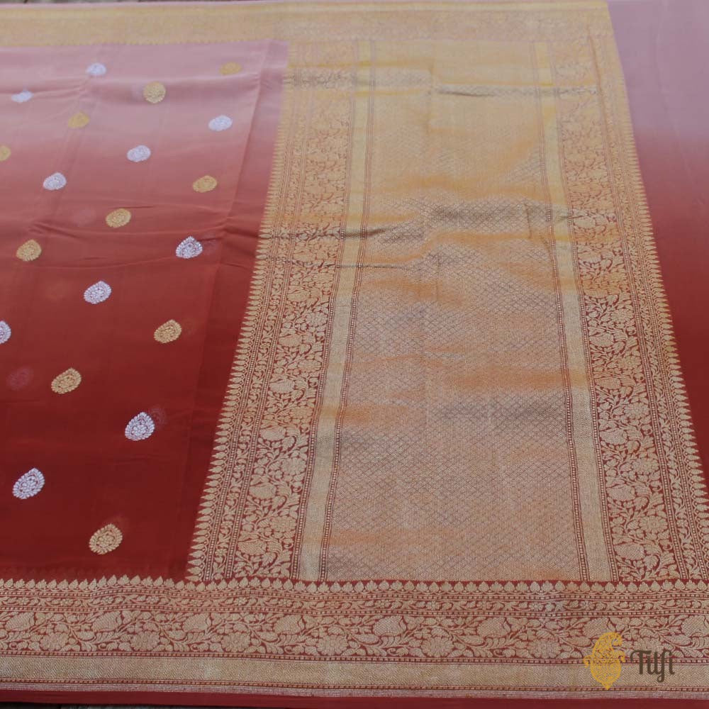Old Rose Pink-Rosy Brown Ombré Pure Georgette Banarasi Handloom Saree