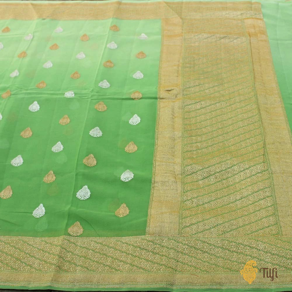 Green Ombré Pure Georgette Banarasi Handloom Saree