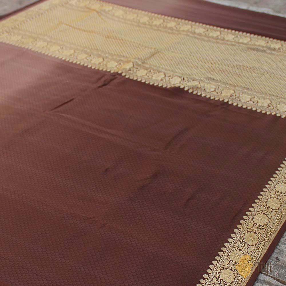 Brown Ombré Pure Georgette Banarasi Handloom Saree