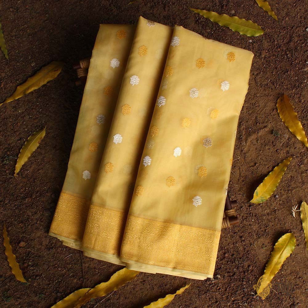 Yellow Pure Kora Silk Handloom Banarasi Saree